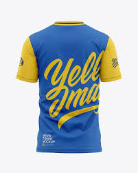 The team's colors, its logo, and the number of. Men S Tight Round Collar T Shirt Back View In Apparel Mockups On Yellow Images Object Mockups Shirt Mockup Collar Tshirt Design Mockup Free