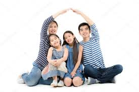 asian family smiling and playing house by hands on isolated white background photo by chomnancoffee