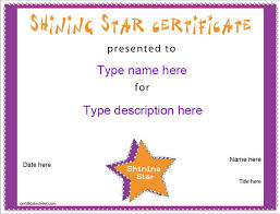 Name A Star Certificate Template Interesting Education Certificate Shining Star Award CertificateStreet