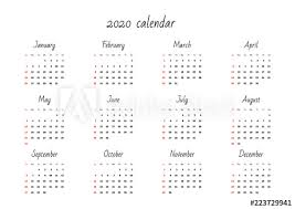 November 2020 Calendar Clip Art Monthly Calendar 2020 Template Vector Illustration 8 Eps