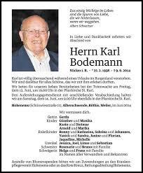 Karl Bodemann Todesanzeige Vn Todesanzeigen