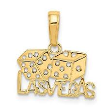M M Vegas Amazon Com 14k Yellow Gold Las Vegas Dice Pendant Solid 15