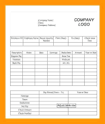 Pay Stub Templates Excel Pay Stub Template Lovely Excel Example Free For Employee