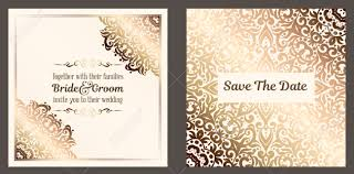 Weding Card Designs Gold Wedding Invitation Card Template Design With Damask Pattern