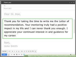Letter to Professor for Recommendation reference request letter template