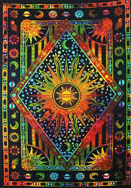 indian sun moon tapestry wall hanging