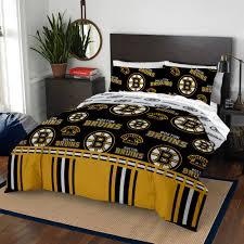 comforter set queen boston bruins nhl 5 piece bedding sheets black bed in a bag