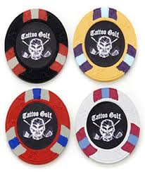 ball markers. tattoo golf poker chip ball markers