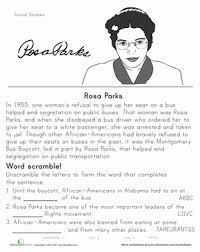 Small Picture Rosa Parks Historical Heroes Worksheet Educationcom