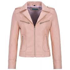 las s real leather jacket baby pink napa biker motorcycle short style 9823 short jackets