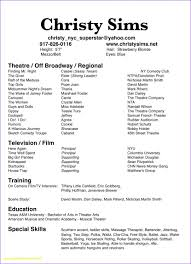 Resume Template Examples Free Musical Theatre Resume Template Free Examples Acting Example New 99