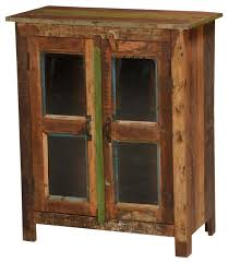 melrose rustic reclaimed wood glass door floor cabinet farmhouse accent chests and cabinets by sierra living concepts
