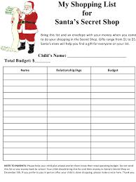 Santa List Template Santas Secret Shop Shopping List Template Download