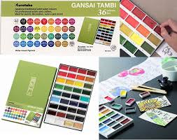 Gansai Tambi Color Chart Kuretake Gansai Tambi Color Set Japanese Traditional Solid