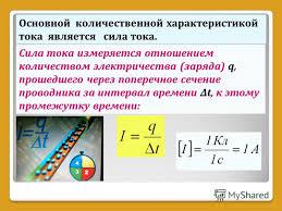 Презентация на тему Тема ПОСТОЯННЫЙ ТОК Постоянный ток  8 Основной количественной характеристикой тока является сила