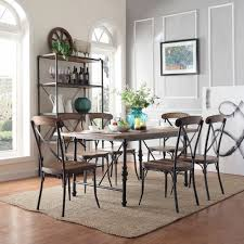 INSPIRE Q Nelson Industrial Modern Cross Back 7-piece Dining Set -  Overstock Shopping