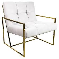 Mid century modern chair styles Walnut Midcentury Modern Style Tufted Accent Chair In Cream Velvet With Brass Frame For Sale Freshomecom Midcentury Modern Style Tufted Accent Chair In Cream Velvet With