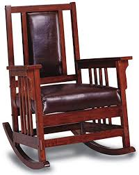 wood and leather chair. Coaster Mission Style Rocking Wood And Leather Chair Rocker, Brown S