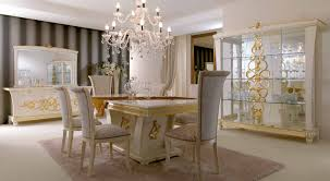 luxury italian dining room furniture with crystal chandelier and white buffet chairs style table european round wood living country inlaid modern classic