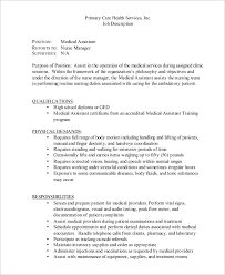 Duties Of A Medical Assistant For A Resumes Sample Medical Assistant Job Description 8 Examples In Pdf