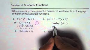 how to find number of x intercepts from quadratic equations