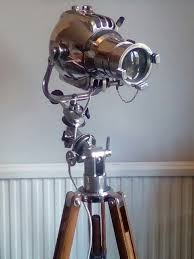 refurbished english strand 23 theatre stage floor light on a 1970 s equatorial telescope tripod