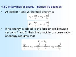 6 4 conservation of energy bernoulli s equation