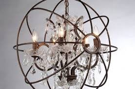remarkable orb crystal chandelier in foucault s rustic iron replica