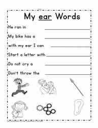Ruled lines, short vowel sounds, consonant digraphs, and words to copy. Ear Word Family Worksheets