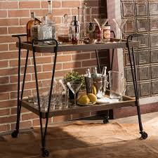 Baxton Studio Jessica Rustic Industrial Style Antique Black Textured Finish Metal Distressed Ash Wood Mobile Serving Bar Cart