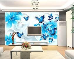 3d mural wallpaper custom murals living room blue flower home decoration in  wallpapers from improvement on