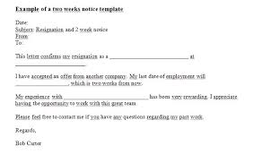 2 Week Notice Letter For Work Resignation Letter Template Free Word Format Download