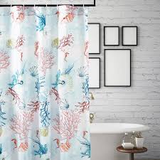 Coral Design Shower Curtain Bright Coral Reef Shower Curtain