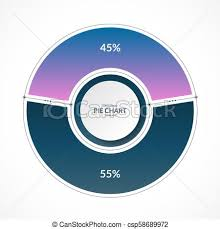 Infographic Pie Chart Circle In Thin Line Flat Style Share Of 45 And 55 Percent Vector Illustration
