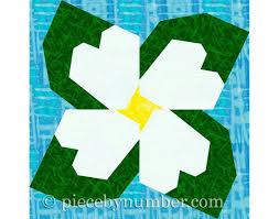 Paper Piecing Flower Dogwood Blossom Paper Pieced Flower Quilt Block Paper Piecing Etsy