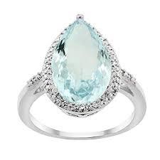 Pear Shaped Diamond Mm Size Chart Amazon Com 14k Gold Diamond Halo Genuine Aquamarine Ring