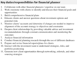 ... 2. Key duties/responsibilities for financial planner ...