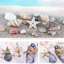 details about 2 box nail art natural conch s starfish sea beach ornaments diy 3d decor