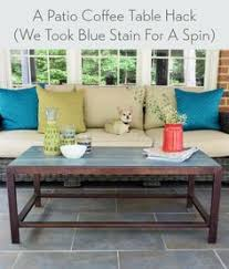 a patio coffee table hack and our new sofa