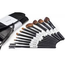 karity professional studio quality 12 piece natural cosmetic makeup brush set w pouch in black