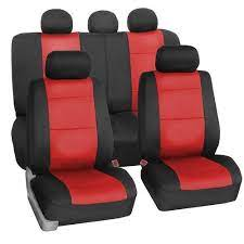 black red leather car seat cover rs