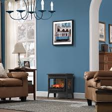duraflame infrared quartz fireplace stove with 3d flame effect black on a cold night