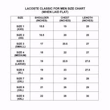 Lacoste Size Chart Lacoste Polo Mens Size Chart Rldm
