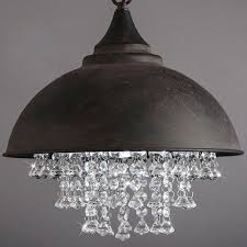 industrial crystal pendant light loft vintage chandelier dome shade ceiling lamp