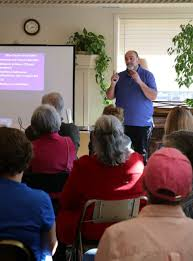 right dementia care specialist and author gary leblanc gives a special presentation to a standing room only crowd at sunshine gardens