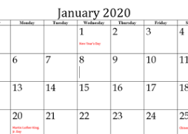 Printable Calendars 2020 With Holidays Printable January 2020 Calendar Archives Printable