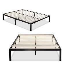 Queen size Black Metal Platform Bed Frame with Wood Slats No Box