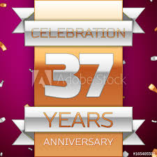 Anniversary Ribbon Realistic Thirty Seven Years Anniversary Celebration Design Silver