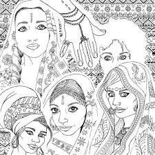 Small Picture Coloring Book for Adults Indian African Fashion Portraits