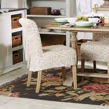 Furniture:Beautiful Pink Floral Motif Cover Dining Chairs Near Small White  Vintage Tea Table Cottage